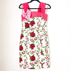 Betsey Johnson Floral Pink White Bow Dress Small